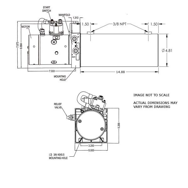 12V DC Double Acting Power Unit - 4 Quart Deep Tank