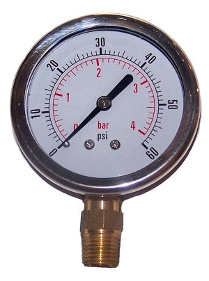 60 PSI - Bottom Mounted Gauge
