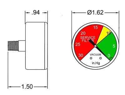 """1-1/2"""" Suction Hydraulic Service Filter Gauge"""