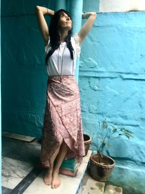 Mauve Pink Silk Sari Skirt