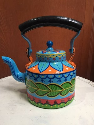 Painted tea pot - Blue and green Design