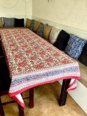 Magenta Red Floral Block Print Tablecloth