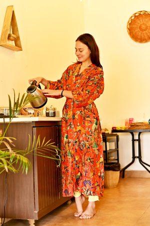 orange floral kimono