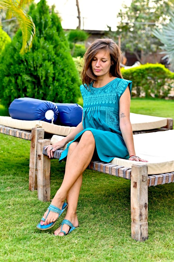 Teal dress and turquoise sandals