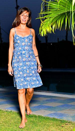Block Print Dress - Blue