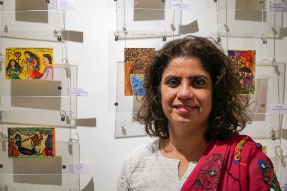 Art teacher Swati Kunte at Khula Aasmaan exhibition