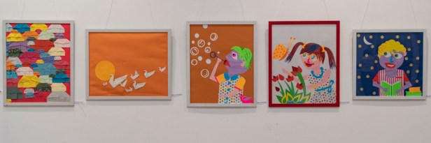 Paintings by Prashant Bania and Tejaswini Patil at the art exhibition to mark Children's day