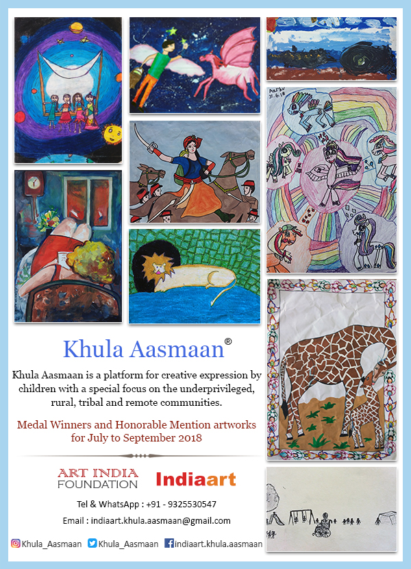 Art competition by Khula Aasmaan - contest results for children and college students for July to Sept 2018
