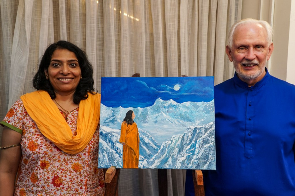 Latha with Nayaswami Jyotish and his painting - Guru Purnima, at Ananda Sangha, Pune