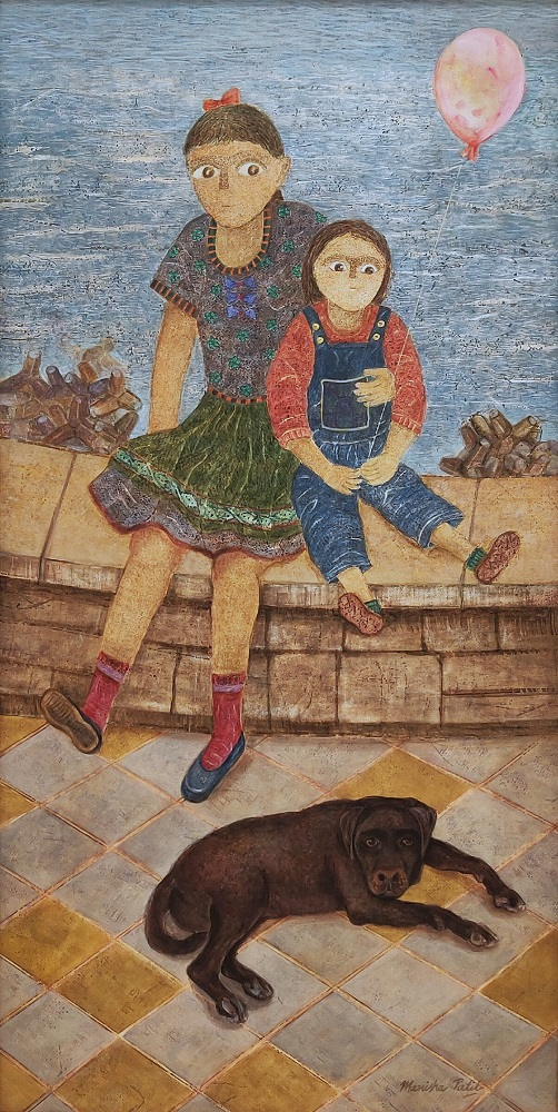 Marine Drive, painting by Manisha Patil, Acrylic on Canvas, 48 x 24 inches