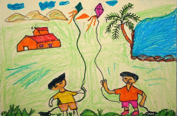 Painting by Chando Rinjad, class 6 from Khambale ashramshala for adiwasi (tribal) children