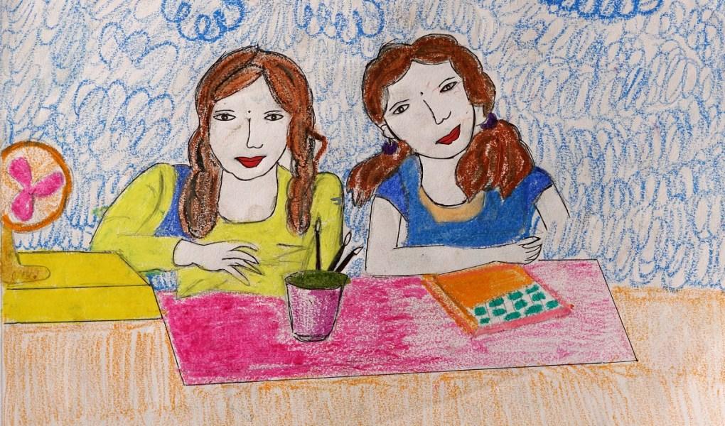 Painting by Vaishali Tunbada, class 9 from Warvada ashramshala for tribal or adiwasi girls