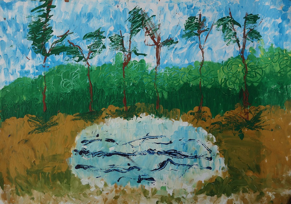 Forest painting by child artist Vidisha Ajmera. Posted on Forests Day.