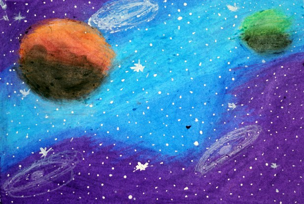 Prize winning painting by Harshita Udgiri from Science Day children's art competition