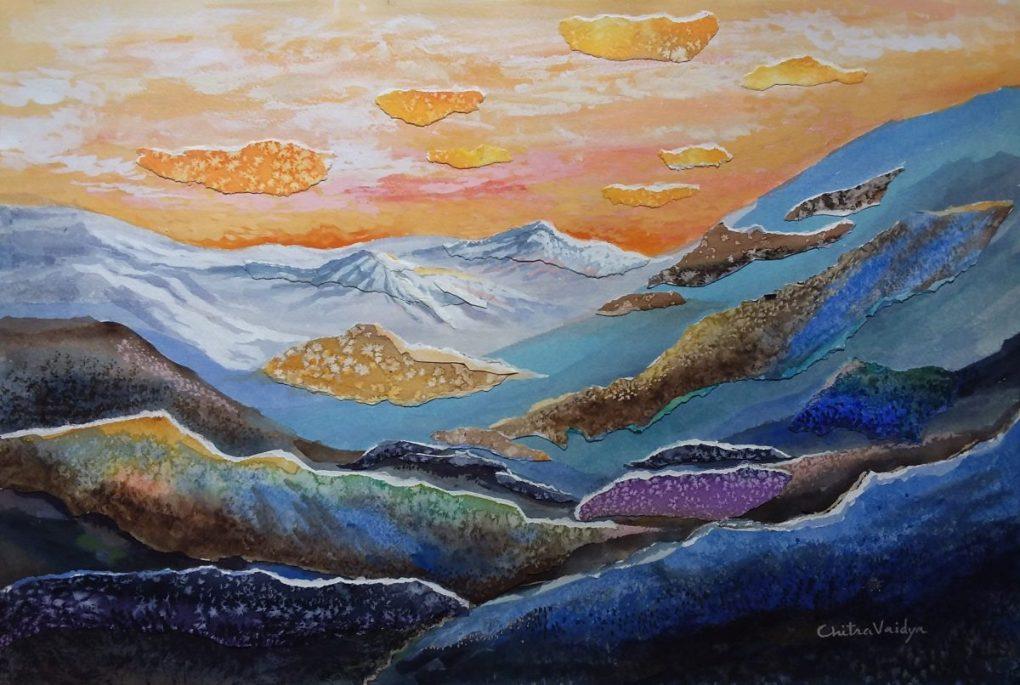Colours of Himalayas, painting by Chitra Vaidya