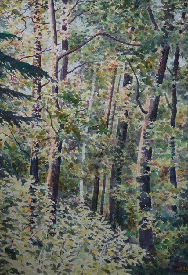 Jungle - My Love, forest painting by old master H. C. Rai