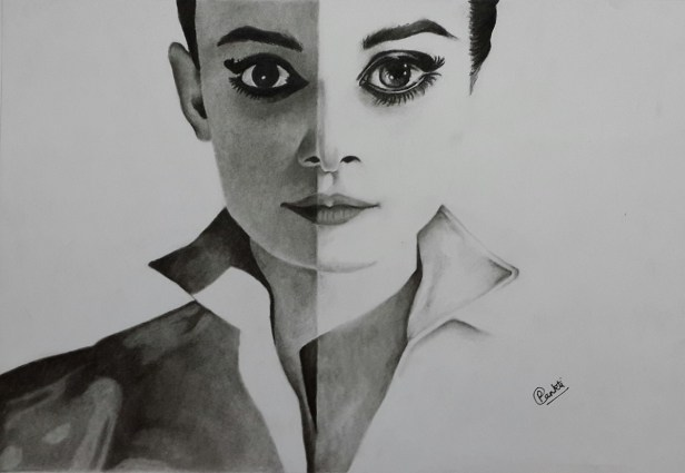 Portrait of Audrey Hepburn, painting by Pankti Jain