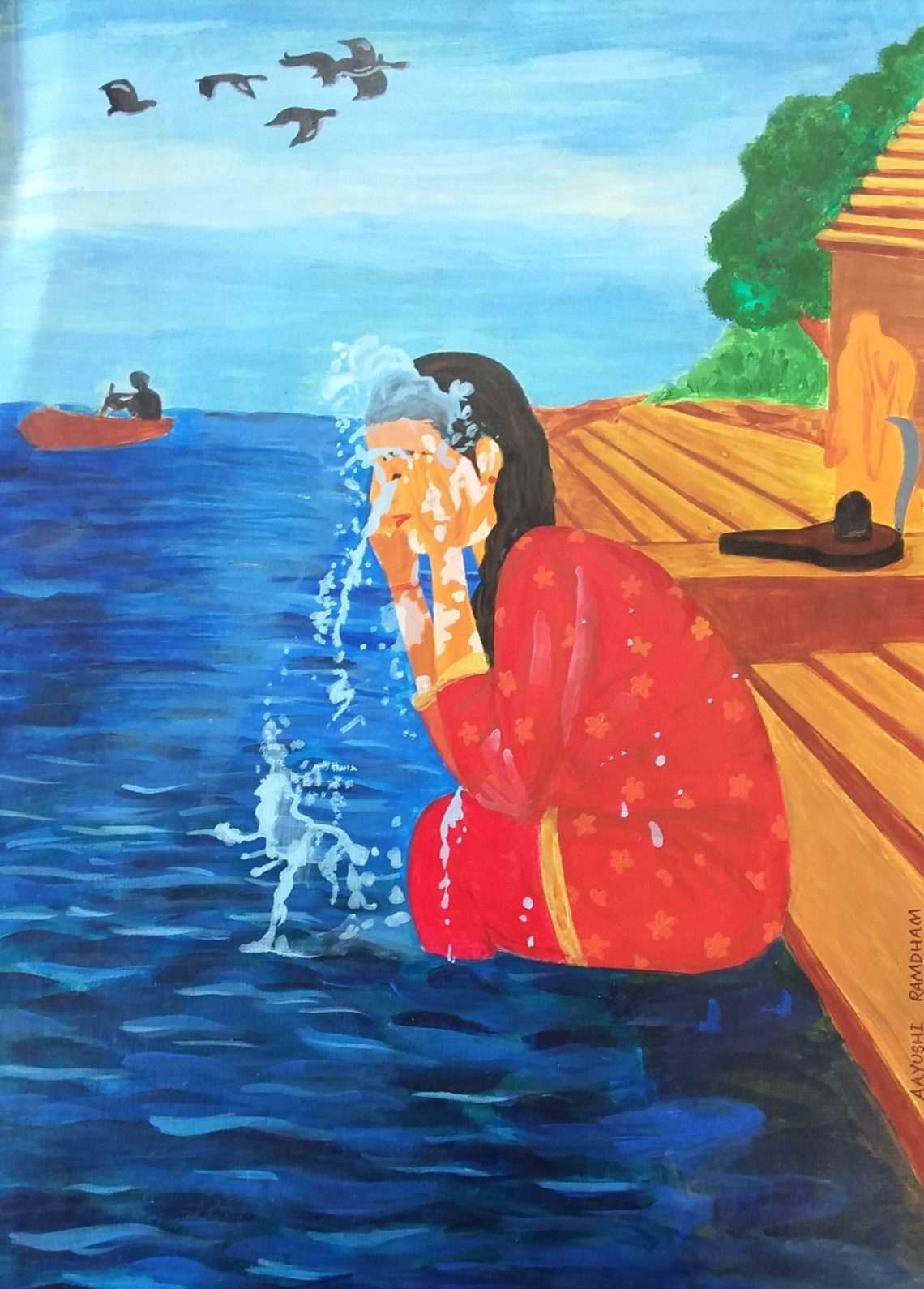 Tirtha - washing away all sins, painting by young artist Aayushi Bhagwat Ramdham from Khula Aasmaan art contest.