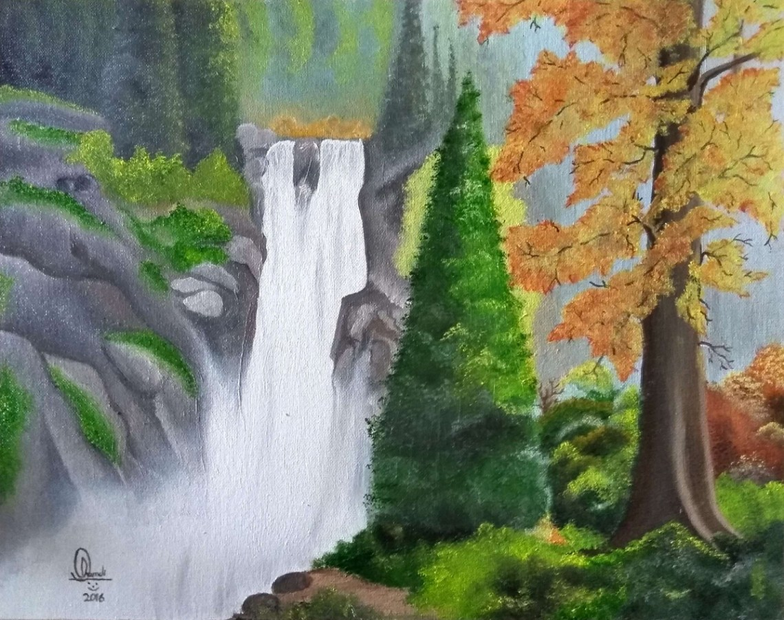Waterfalls, painting by child artist Hamdi Imran from Khula Aasmaan art competition. Posted on World Water Day to highlight universal access to freshwater.