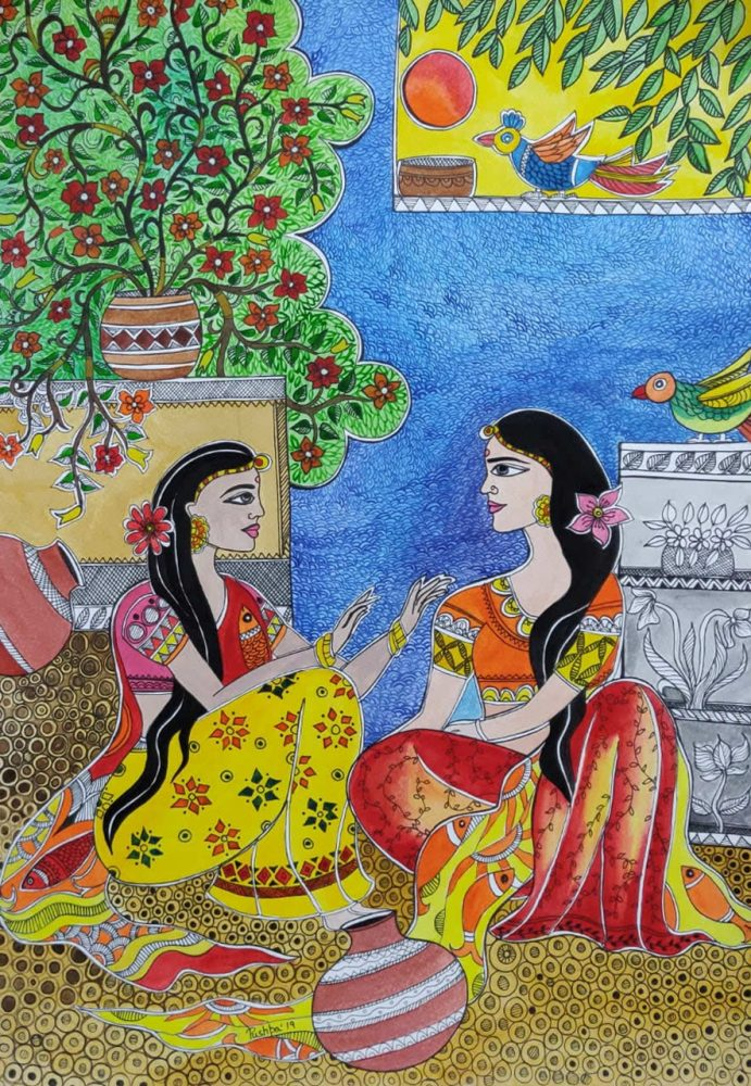 Gup-shup, two women chitchatting in their leisure time, watercolour and pen on paper, 16.4 x 11.5 inches