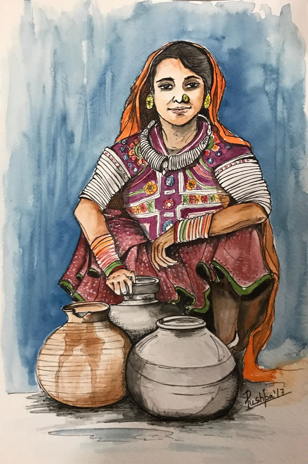 Indian Village Woman - 1, painting by Pushpa Sharma, Watercolour & Ink pen on Archival Paper, 12 x 8 inches