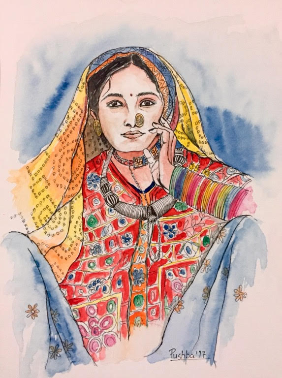 Indian village woman painting - 2 by Pushpa Sharma, watercolour and ink pen on archival paper, 12 x 8 inches
