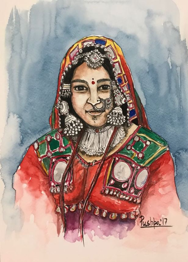 Indian Village Woman, painting by Pushpa Sharma, Watercolour & Pen on Paper, 12 x 8 inches