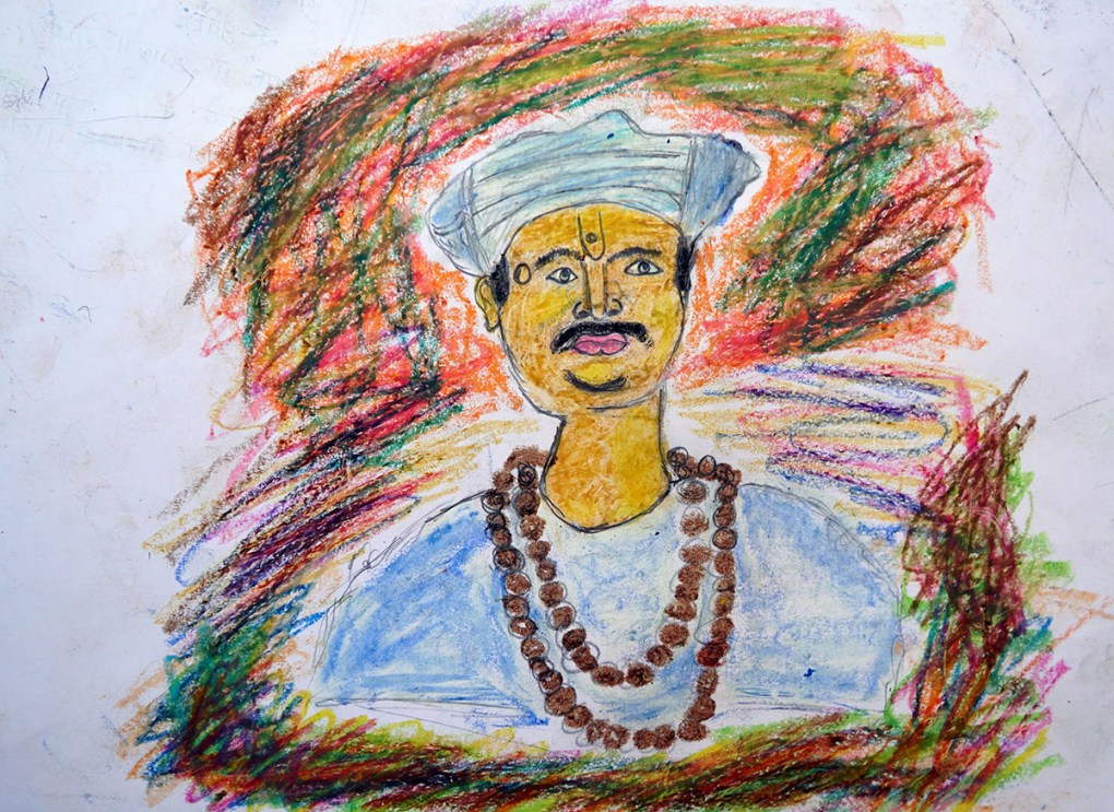 Painting by Jagdish Lahare, class 8, Gonde Ashramshala, Dist. Palghar, Maharashtra - silver medal in Khula Aasmaan kids art competition