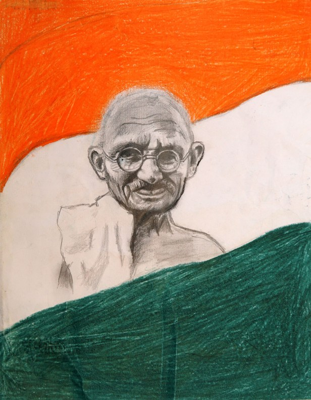 Matama Gandhi painting by child artist Vijayashree Kakubal, medal winner in Khula Aasmaan children's painting competition