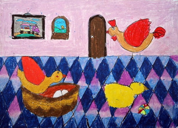 Painting by child artist Anant Sai Gupta, medal winner from Khula Aasmaan art competition for children