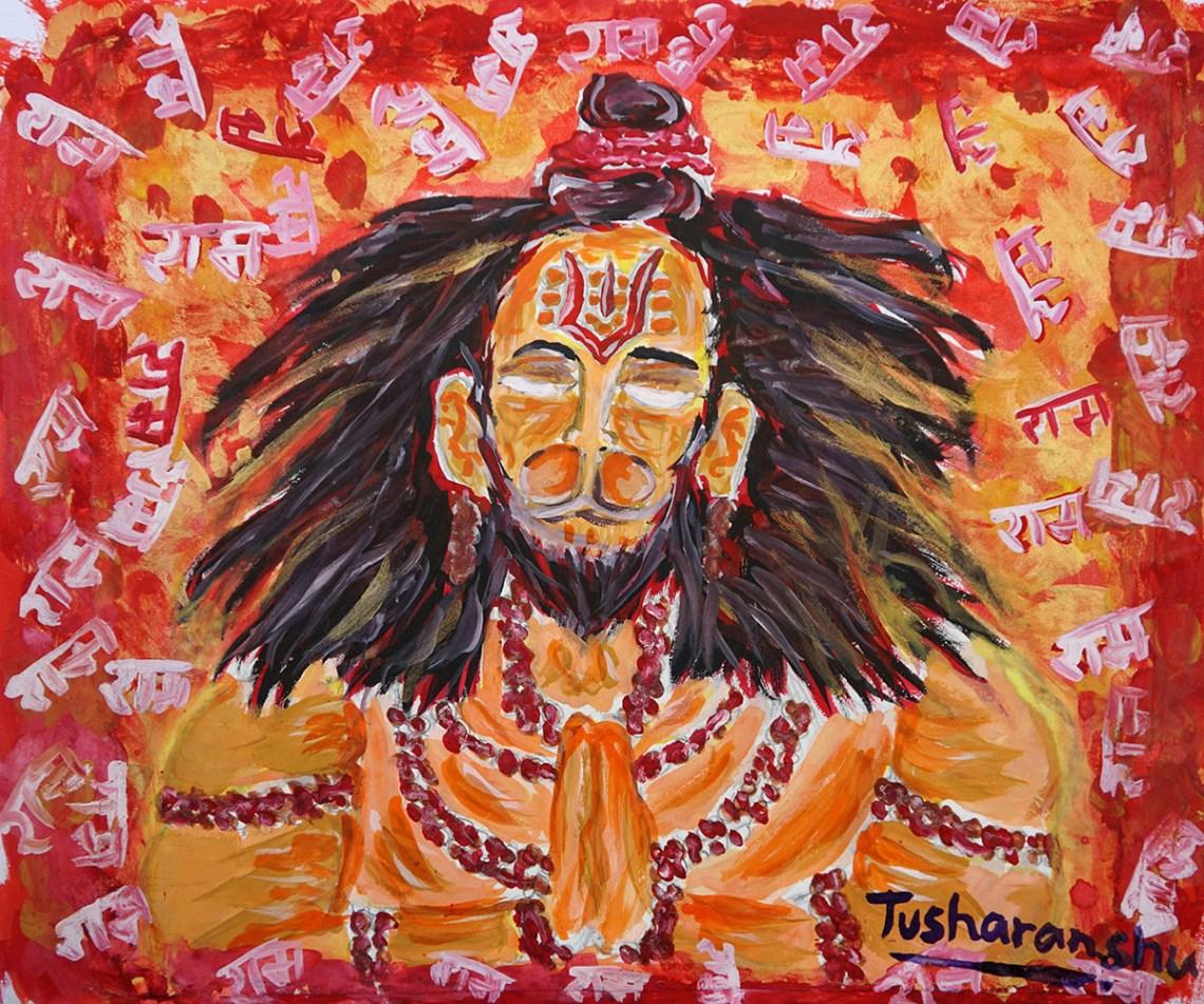 Painting by child artist Tusharanshu Kanik from Kendriya Vidyalaya, Neemuch, Madhya Pradesh - medal winner from Khula Aasmaan child art contest