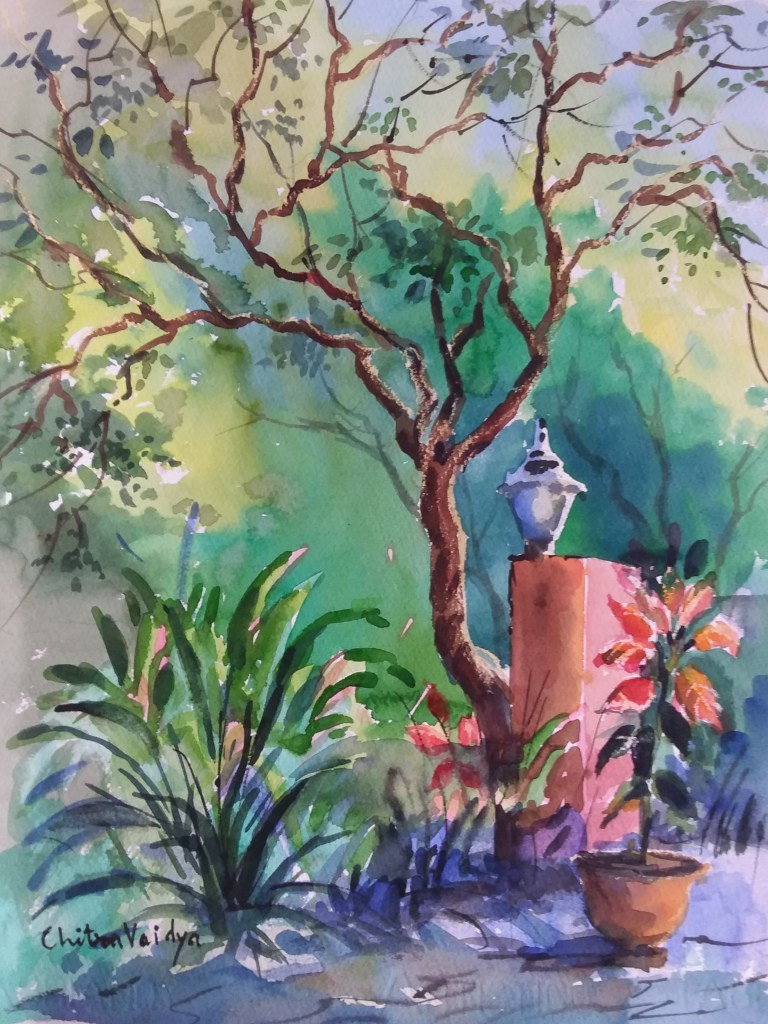 Painting completed at art workshop with watercolour painting demo by artist and art teacher Chitra Vaidya