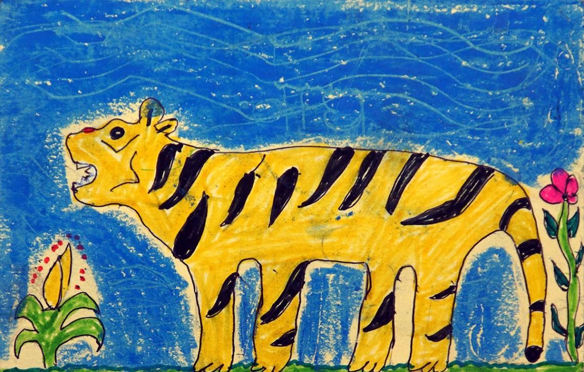 Painting by Pankaj Medha, class 6, Khambale Ashramshala, Dist. Palghar, Maharashtra - silver medal at Khula Aasmaan children's art competition