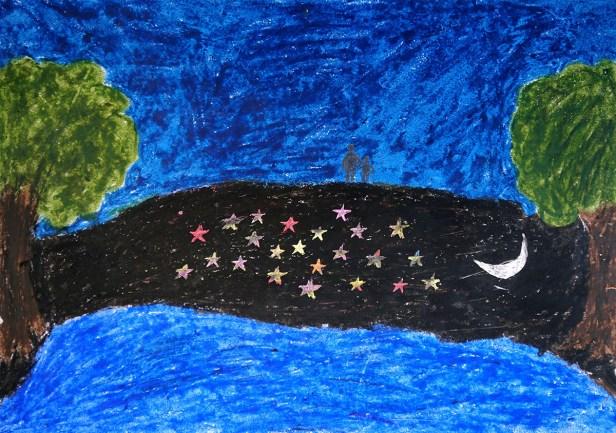 Painting by young artist Sanjay Rade, class 11, Gonde Ashramshala, Dist. Palghar, Maharashtra - medal winner at