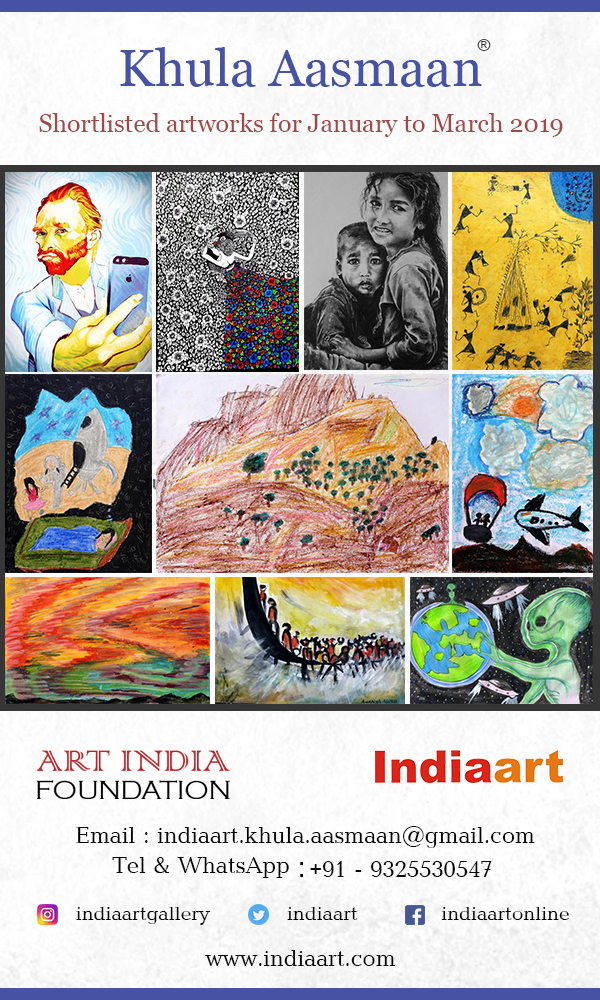 Khula Aasmaan shortlist from school children art competition, college students art competition for Jan to Mar 2019