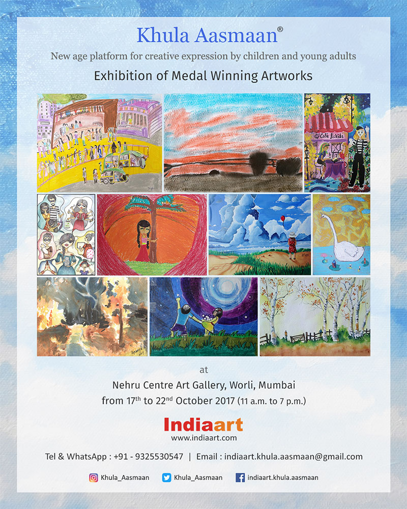 Khula Aasmaan art exhibition of medal winning artworks at Nehru Centre, Mumbai (October 2017)