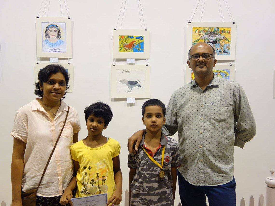 Ojas and Abha Chincholi with parents at Khula Aasmaan exhibition of medal winning artworks at Mumbai - October 2017