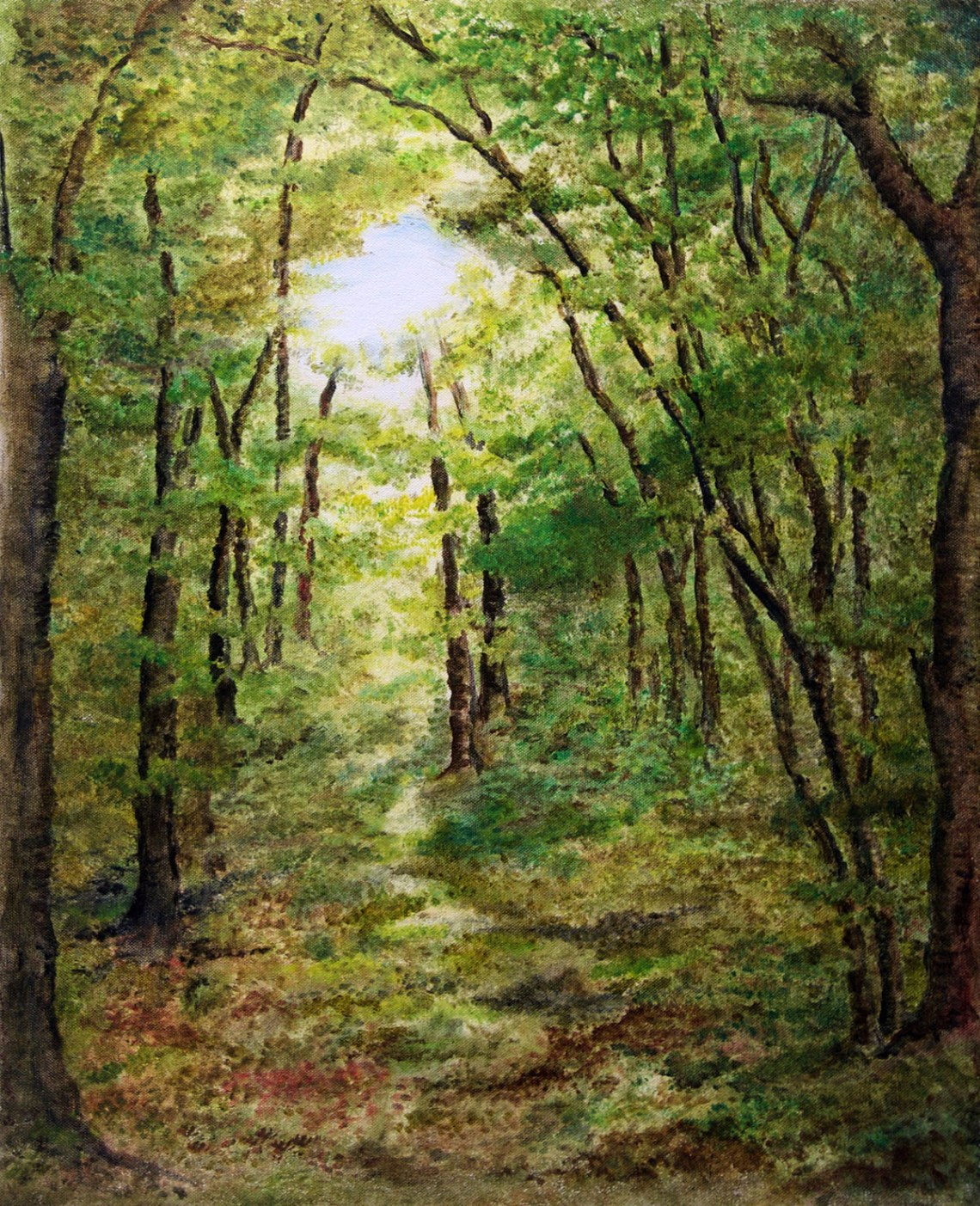 Into the woods, painting by Nirmal Pathare, oil on canvas, 23 x 18 inches. (This painting is part of the art exhibition TRIO)