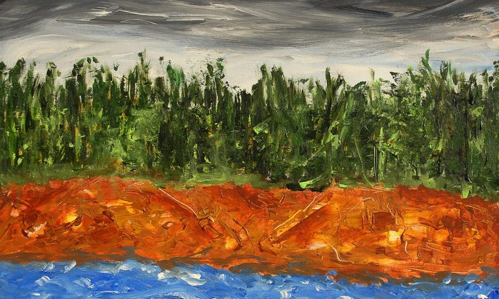 Josh, painting by Vinay Sane, Acrylic on canvas, 24 x 30 inches. Abstract landscape paintings his preferred genre. (This painting will be on display at Nehru Centre Art Gallery, Mumbai)