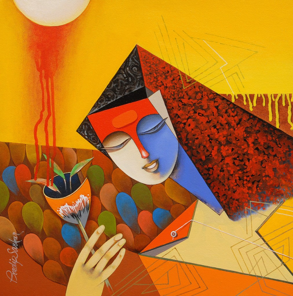 Welcome Song, painting by Pradip Sarkar, Acrylic on Canvas, 30 in x 30 inches
