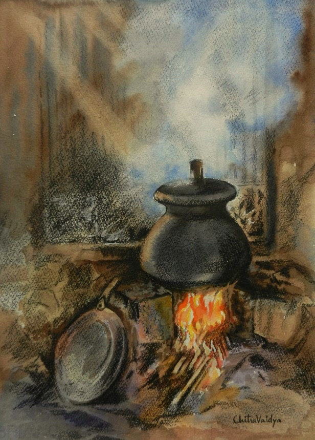 Chulha painting - 1 by Chitra Vaidya, Watercolour & Charcoal on Paper, 14 x 10 inches (rural life painting depicting traditional cooking in Indian villages)