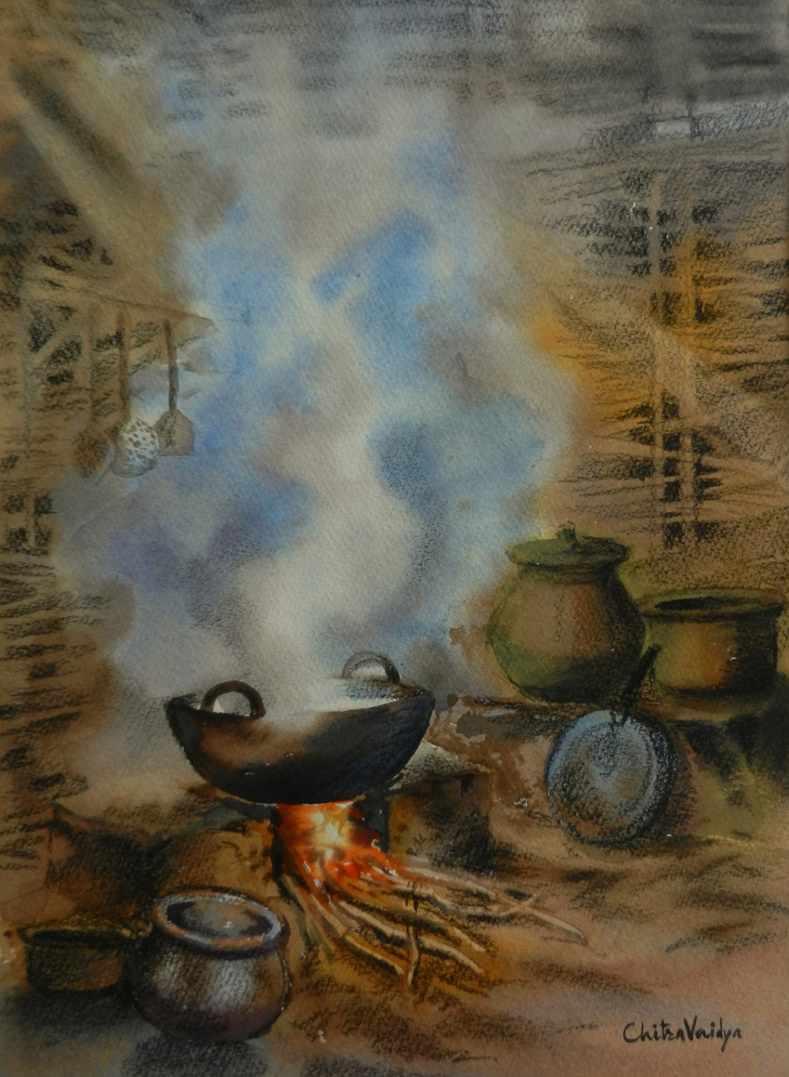 Chulha painting - 2 by Chitra Vaidya, Watercolour & Charcoal on Paper, 14 x 10 inches (rural life painting depicting traditional cooking in Indian villages)