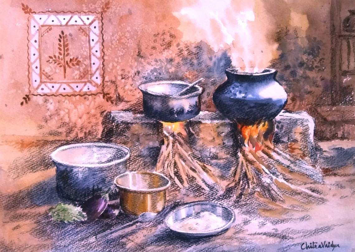 Chulha painting - 3 by Chitra Vaidya, Watercolour & Charcoal on Paper, 10 x 14 inches (rural life painting depicting traditional cooking in rural India)