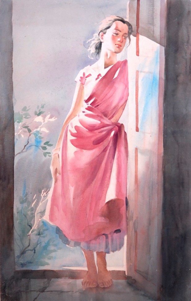 In my world, painting by John Fernandes, Watercolour on Paper , 31 x 20 inches (sold by Indiaart Gallery)