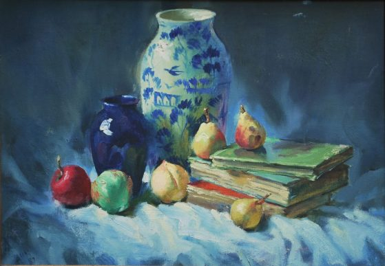 Vase, fruit and books, Still Life painting by master painter John Fernandes, Oil Pastel, 15 x 21 inches