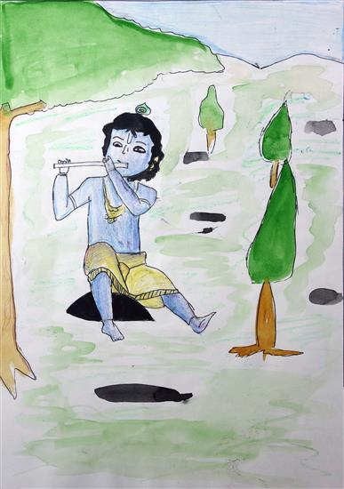 Krishna playing flute, painting by Sahil Nagvekar, Ratnagiri. This painting received an Honorable Mention in art contest for children by Khula Aasmaan.