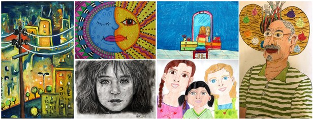 medal winning artworks and honorable mention artworks from Khula Aasmaan art contest get cash awards