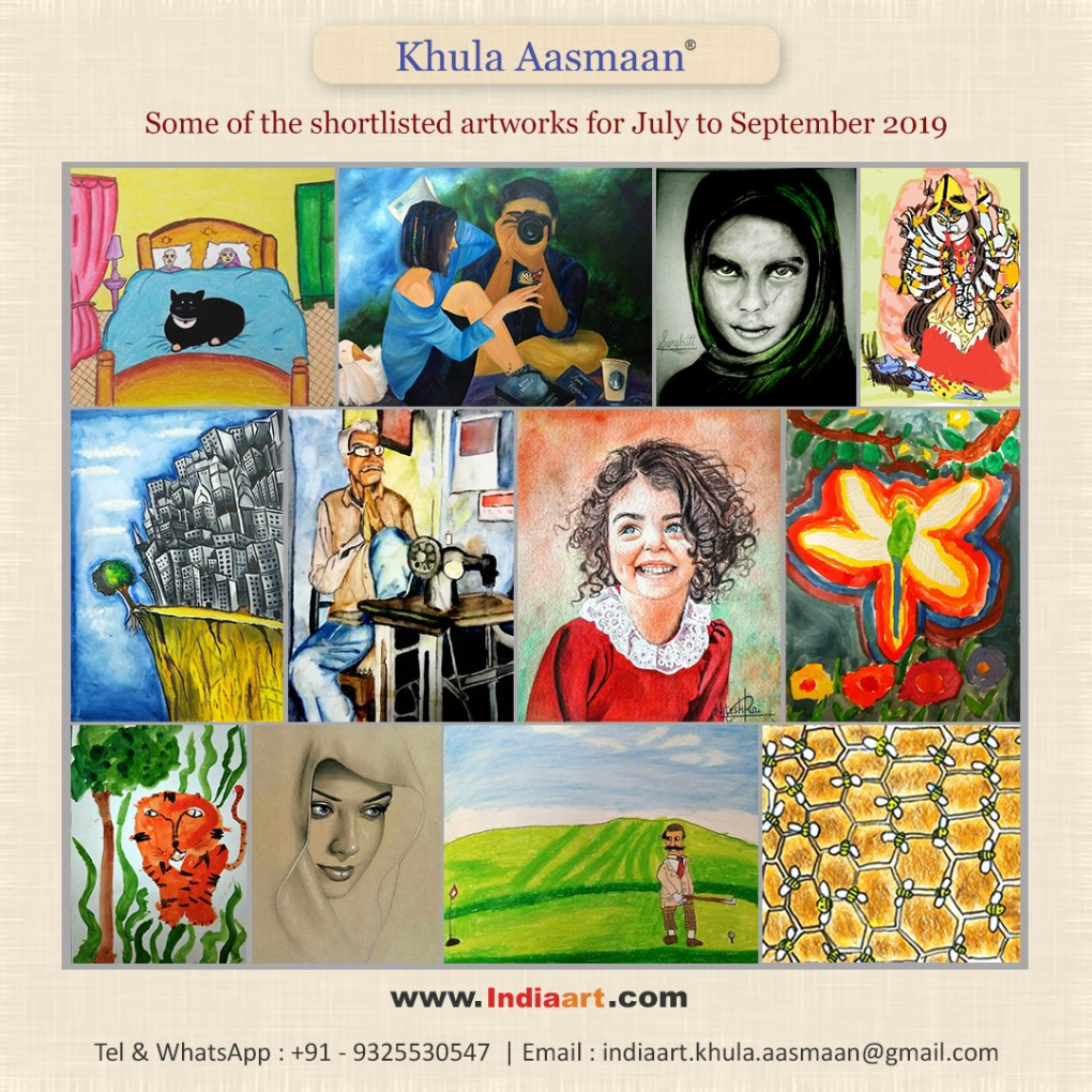shortlist from free online art competition by Khula Aasmaan for July to September 2019