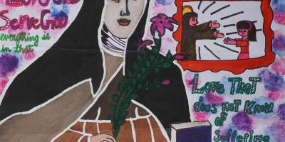 Painting of St. Clare of Assisi by Sanika Pathania (13 years) won an honorable mention in Khula Aasmaan painting competition
