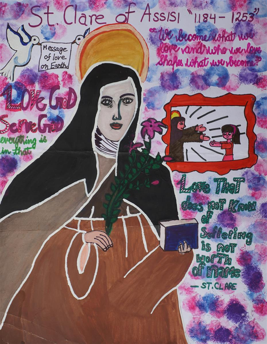Painting of St. Clare of Assisi by child artist Sanika Pathania (13 years) won an honorable mention in Khula Aasmaan children's painting contest